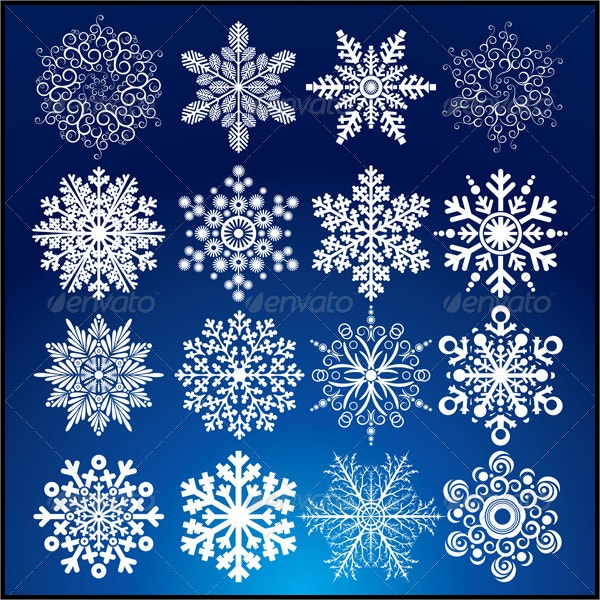 Decorative Vector Snowflake Set