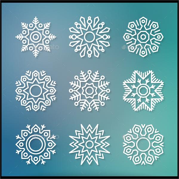 Geometric Christmas Flat Line Snowflake