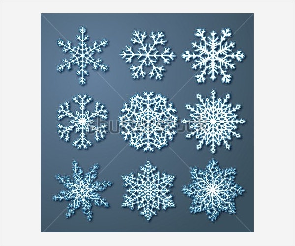 Set of White Paper Snowflake Template