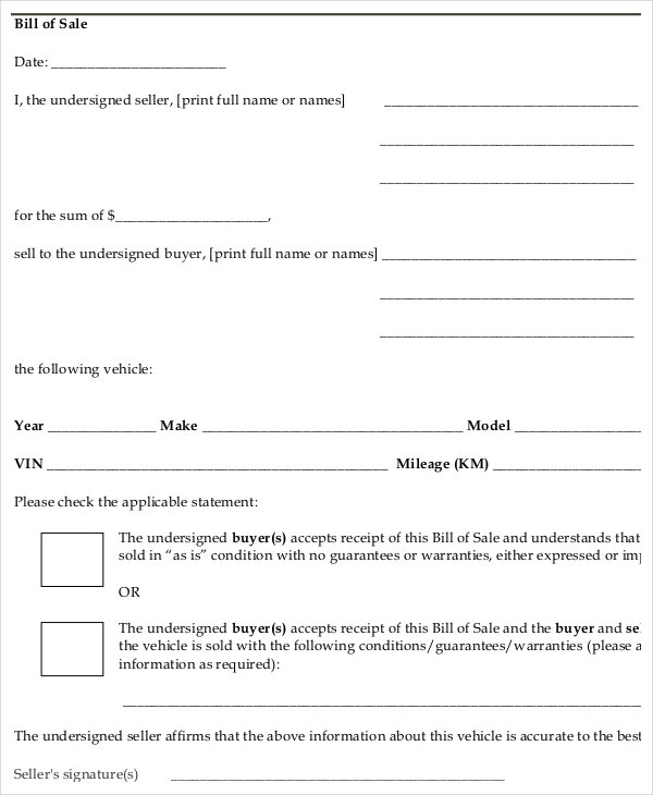Private Party Auto Bill Of Sale Form