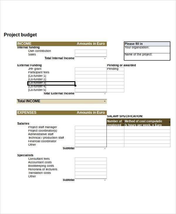 Project Budget Template Free