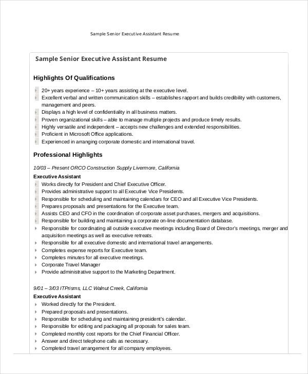 sample resume for executive assistant to senior executive - executive assistant resume 7 free word pdf documents