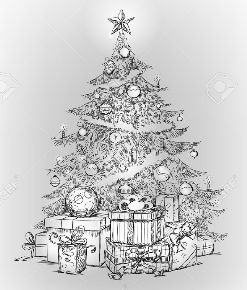 Pencil Drawings Of Christmas Trees