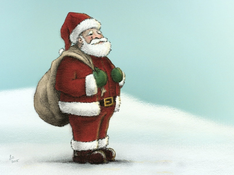 colorful santa pencil art