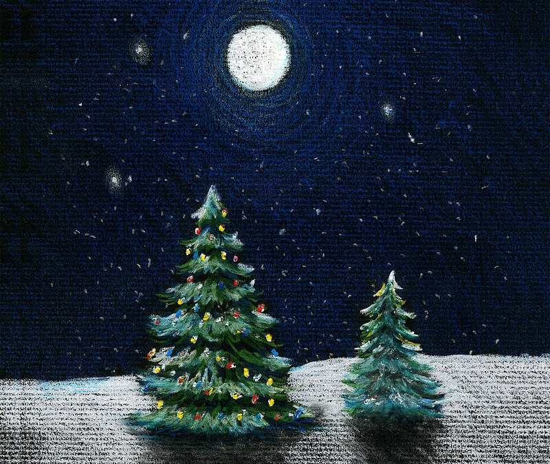 Christmas Night Pencil Drawing