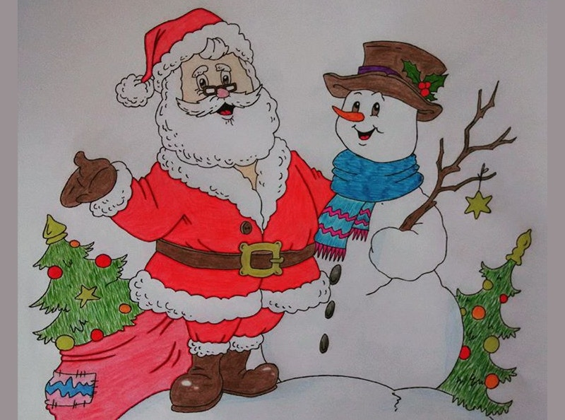 christmas color pencil drawing