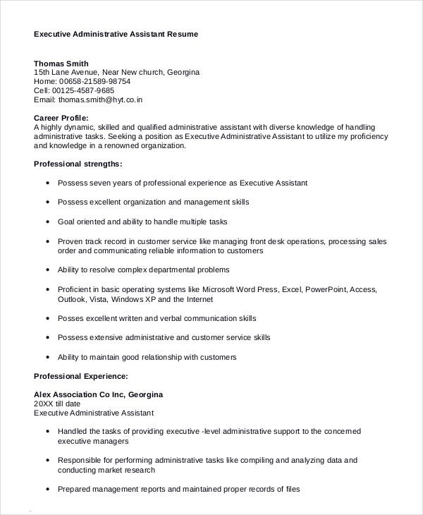 executive assistant resume 7 free word pdf documents download