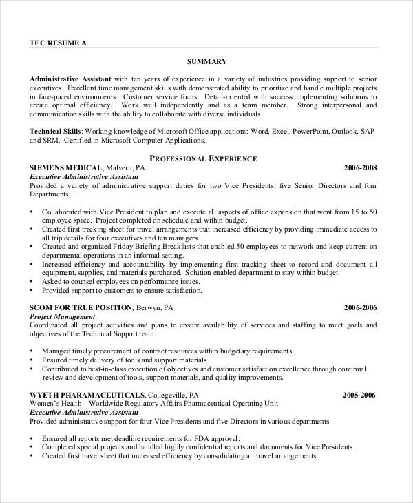 executive administrative assistant resume executive assistant resume 7 free word pdf documents 21640 | Printable Executive Administrative Assistant Resume