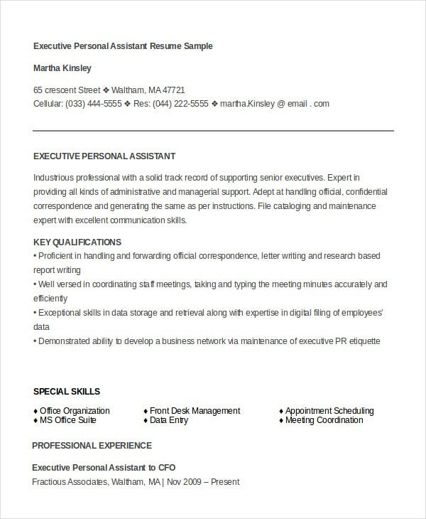 executive personal assistant resume template download