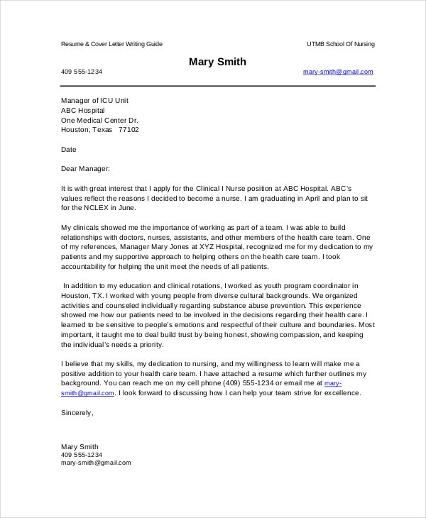new nurse cover letter - New Nurse Cover Letter