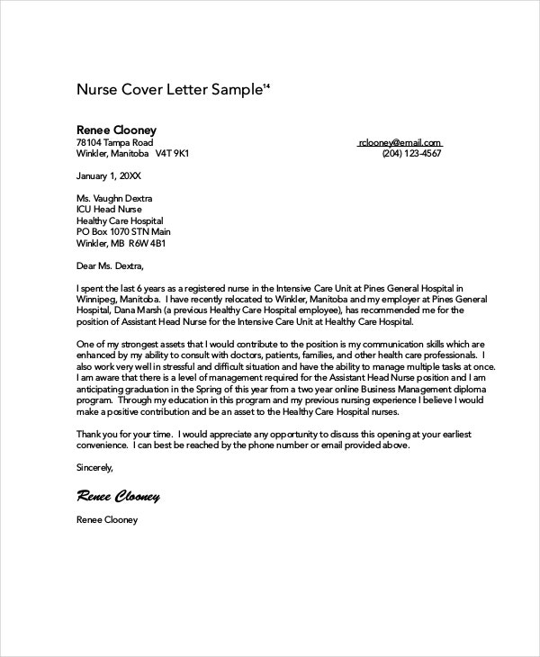 example nurse cover letters