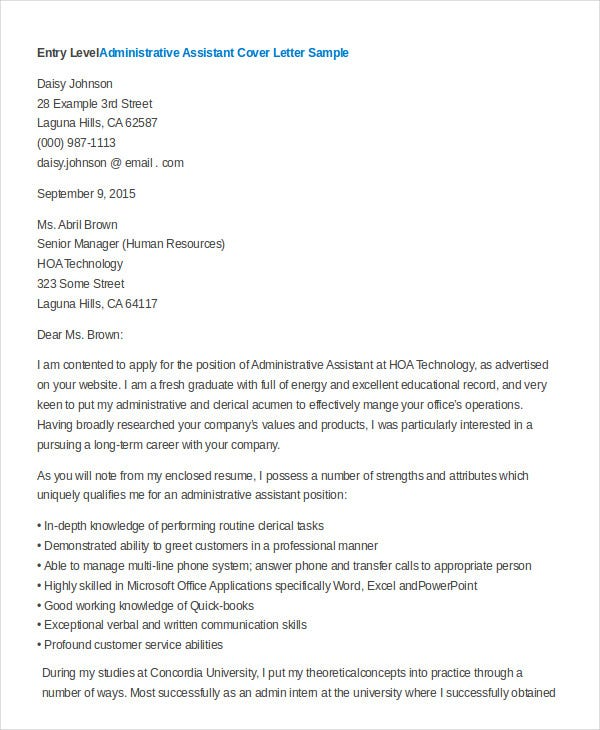 Entry Level Administrative Assistant Cover Letter In Word