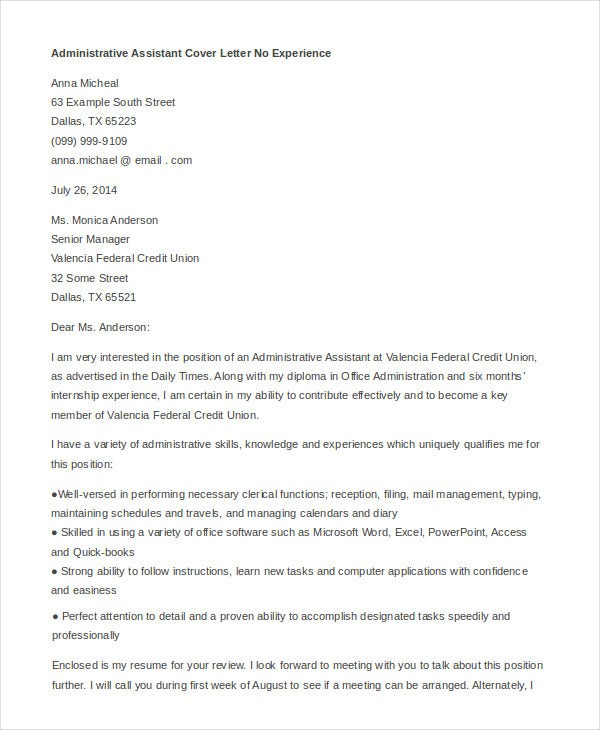Administrative assistant cover letter 8 free word pdf for Cover letter examples for administrative assistant with no experience
