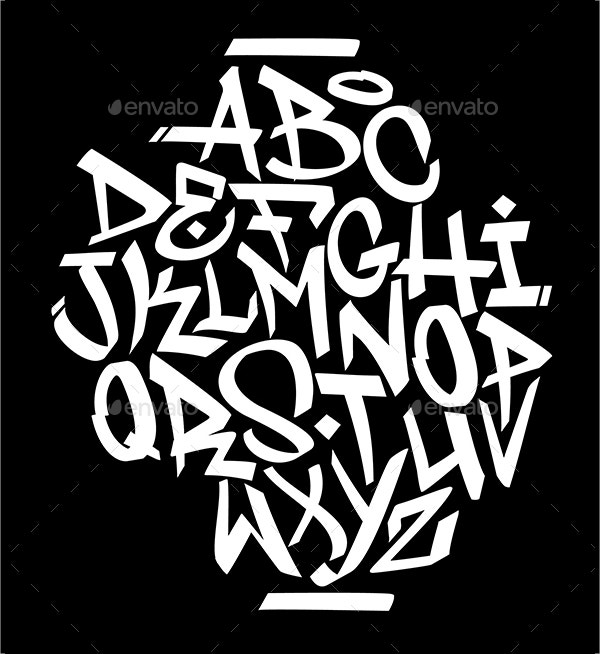 Handwritten Graffiti Font Alphabet