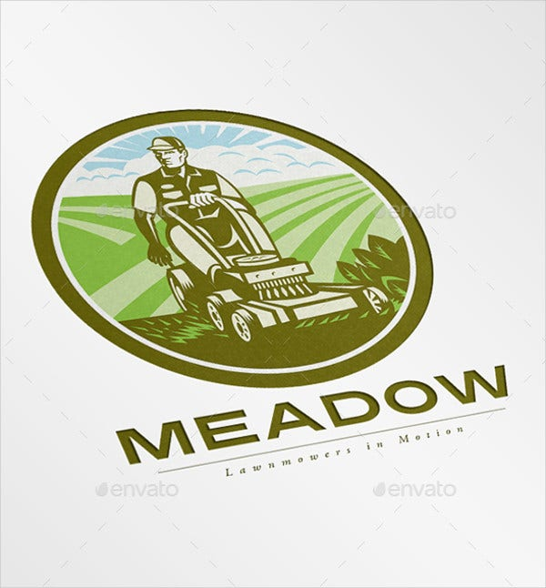 meadow landscaping mowing service logo