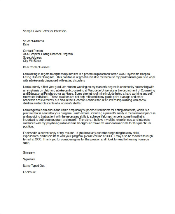 model cover letter for internship Internship cover letter sample, including tips on how to write, what to include, and how to send or email a cover letter when applying for an internship.