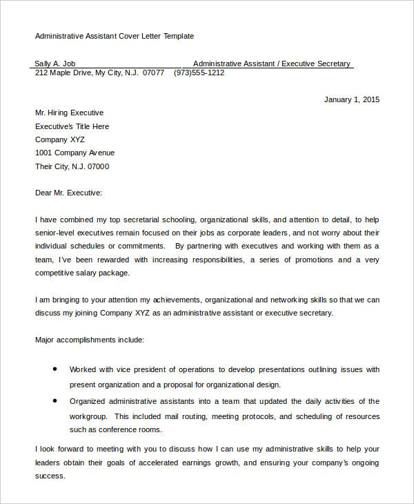 executive assistant cover letter resume sample