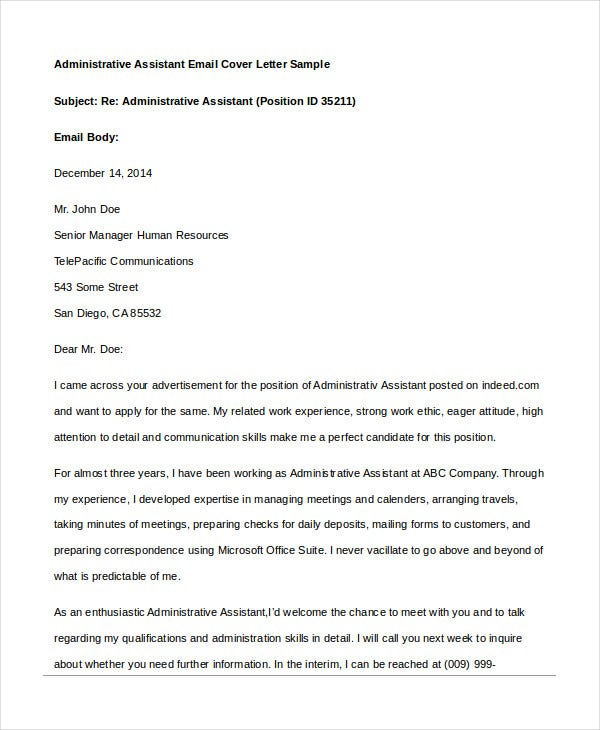 Administrative Assistant Email Cover Letter Sample