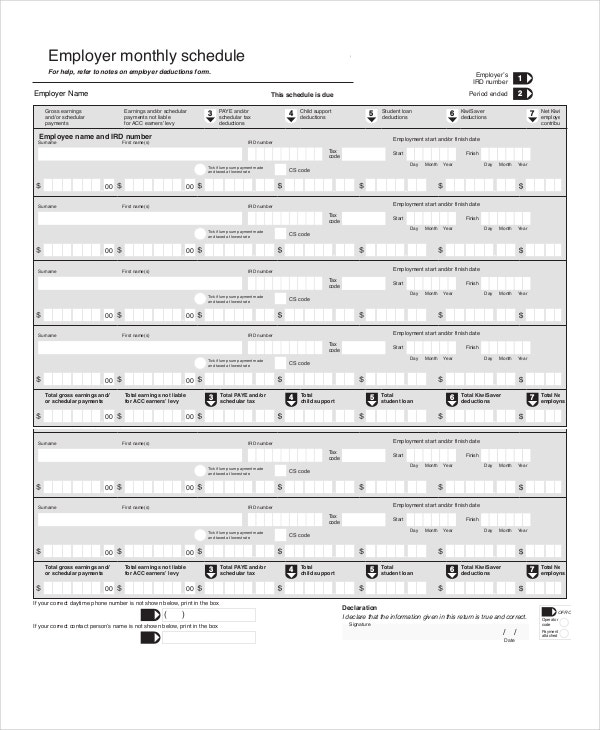 Employer Monthly Work Schedule Template