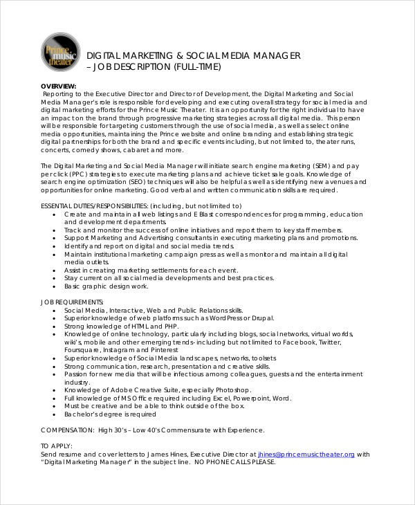 9 marketing manager job description free sample for Example of a job description template