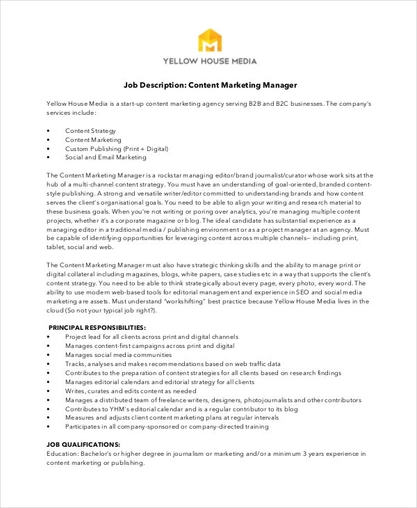 Marketing Manager Job Description  Free Sample Example