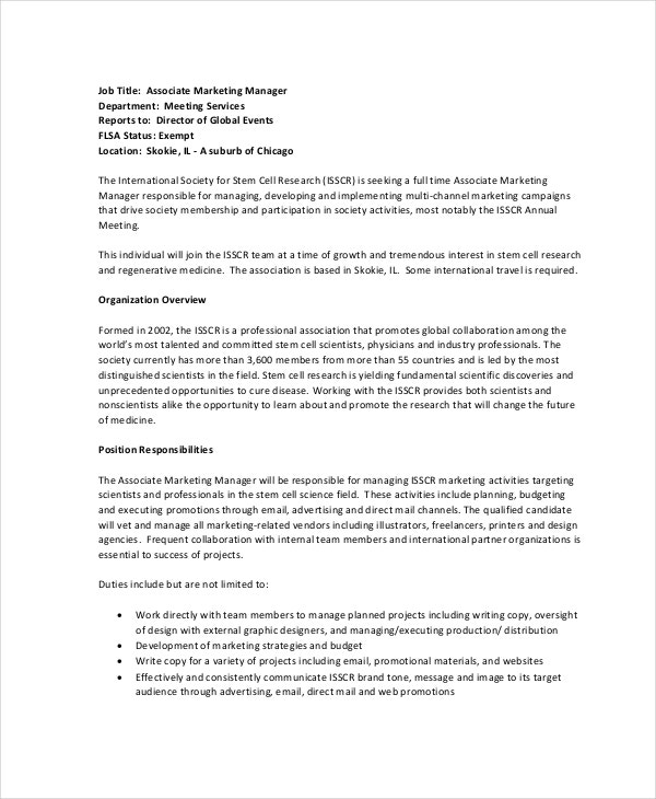 associate marketing manager job description. Resume Example. Resume CV Cover Letter