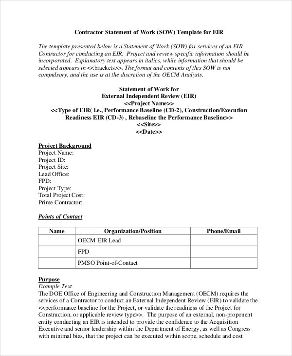 Statement of Work Template 11 Free PDF Word Excel Documents – Point of Contact Template