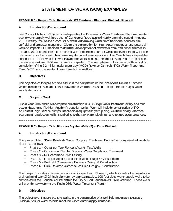 Statement of work template 12 free pdf word excel for Statement of works template