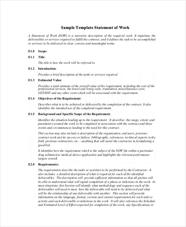 Statement Of Work Template   Free Pdf Word Excel Documents