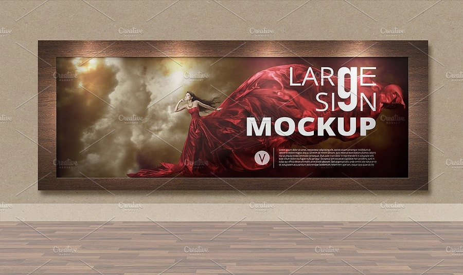 indoor large sign billboard mockup