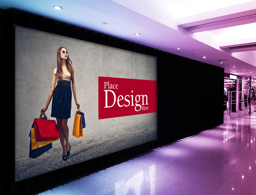Free Shopping Mall Advertising Billboard Mockup