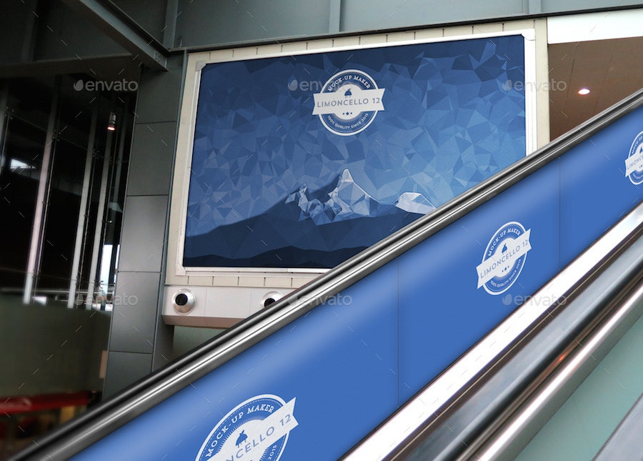 3 escalator advertising mockups