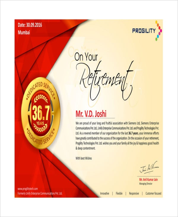retirement certificate of appreciation