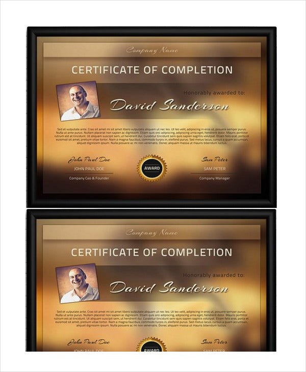 completion certificate of appreciation