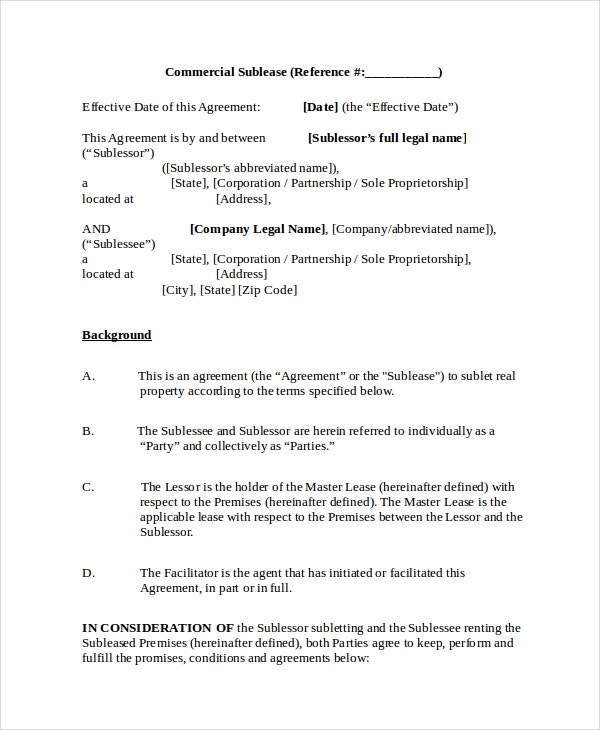 Sublease agreement 10 free word pdf documents download free commercial sublease agreement platinumwayz