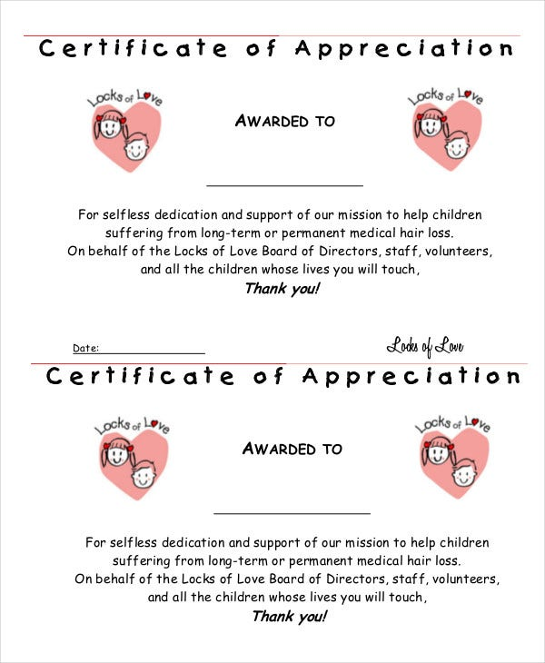 charity certificate of appreciation