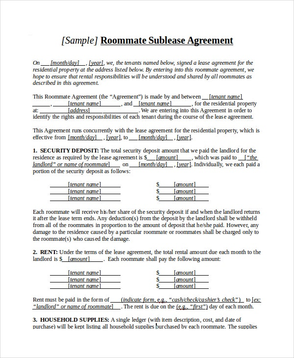 Sublease agreement 10 free word pdf documents download for Roommate agreement template free