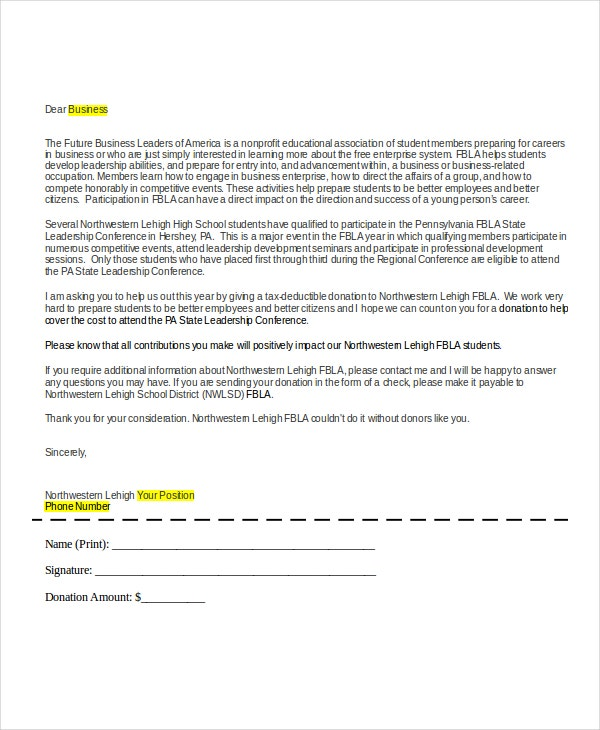 formal donation request letter format