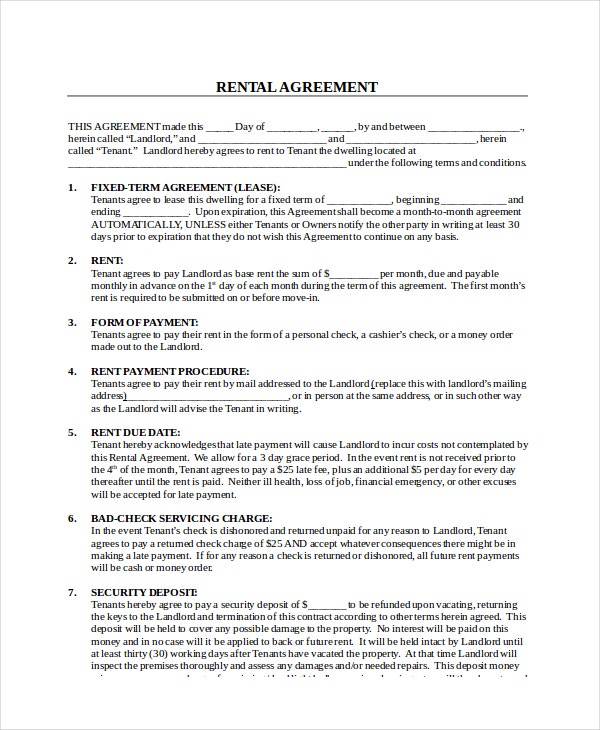 Rental Lease Agreement Free