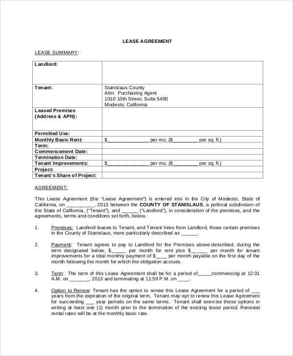 Free Lease Agreement  Free Pdf Word Documents Download  Free