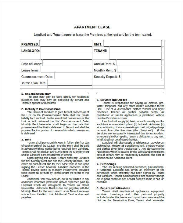 apartment lease agreement free
