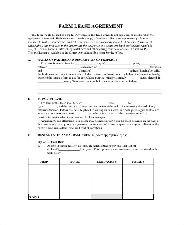 Free Farm Lease Agreement