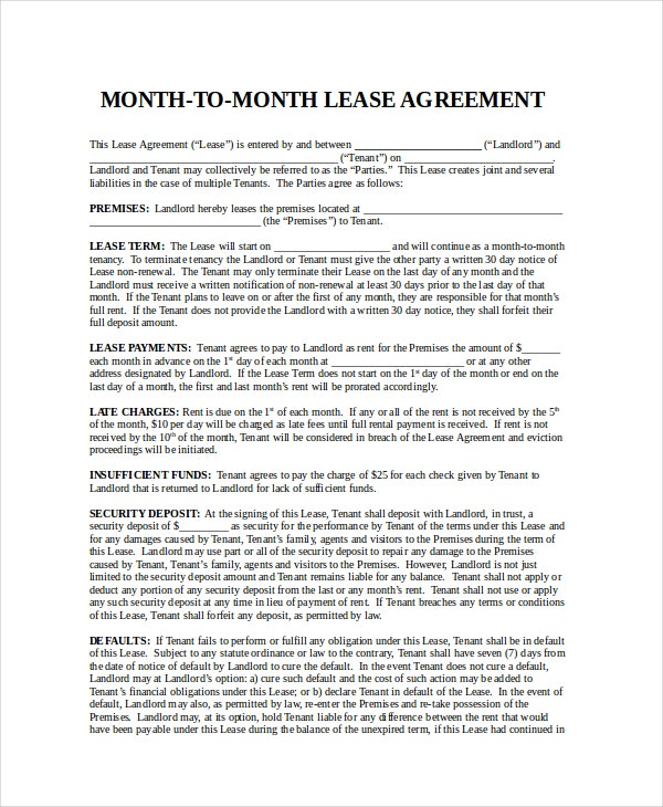 Free Month To Month Lease Agreement