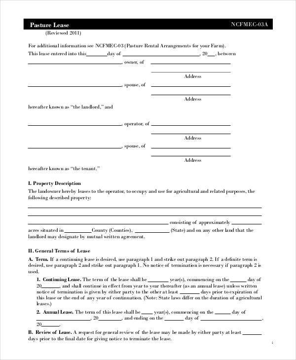 Free Lease Agreement Free PDF Word Documents Download – Sample Pasture Lease Agreement Template