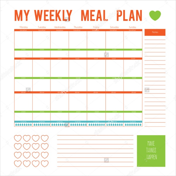 Editable Weekly Meal Planner Template - Calendar