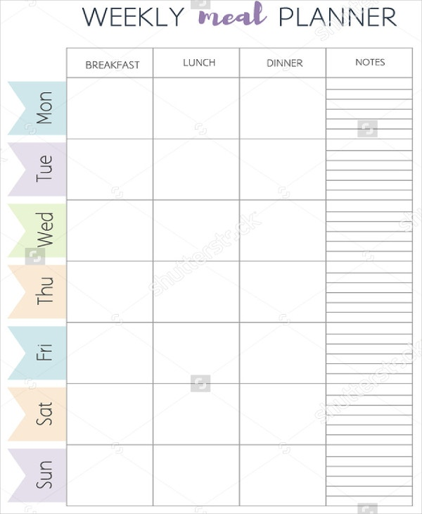 Editable Weekly Meal Planner Template - Calendar Examples