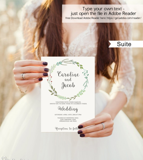 Garden Wedding Invitation Template