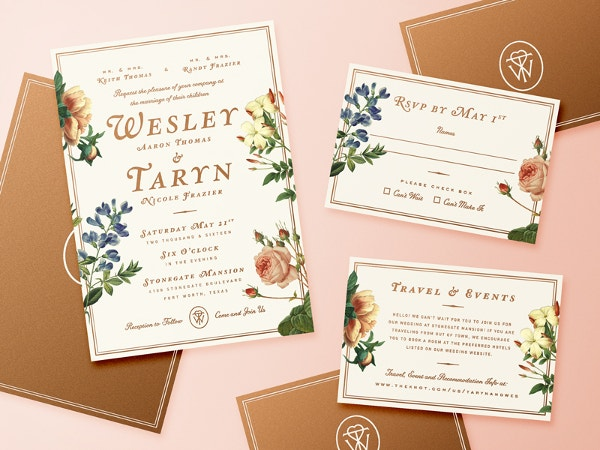 Printable Floral Wedding Invitation