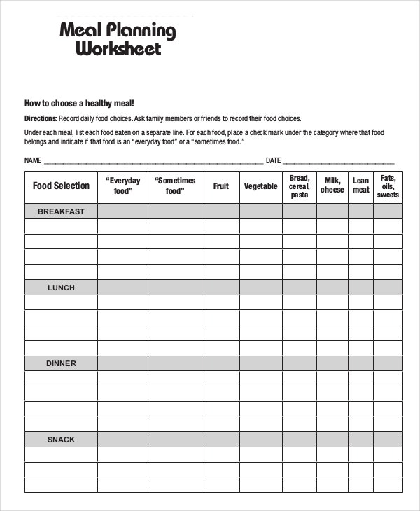 Meal Plan Template 15 Free Word PDF PSD Vector Format – My Daily Food Plan Worksheet