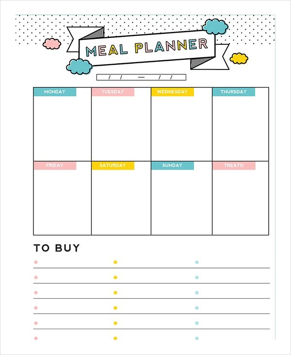 Meal Plan Template 15 Free Word PDF PSD Vector Format – Free Menu Planner Template